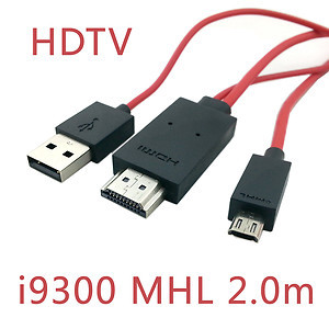 2m MHL Micro USB 5pin to HDMI CABLE FOR Galaxy S3 i300 S4 i9500 Note2 N7100 N5100 Tab T310 T311 S5 i9600 red color(China (Mainland))