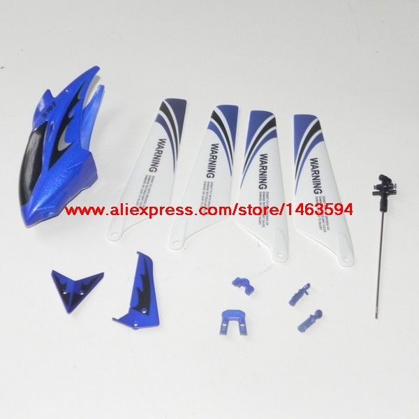Syma S107 S107G RC Helicopter Spare Parts Blue head cover+main blade+tail decoration and fixed+mian shaft Free Shipping(China (Mainland))