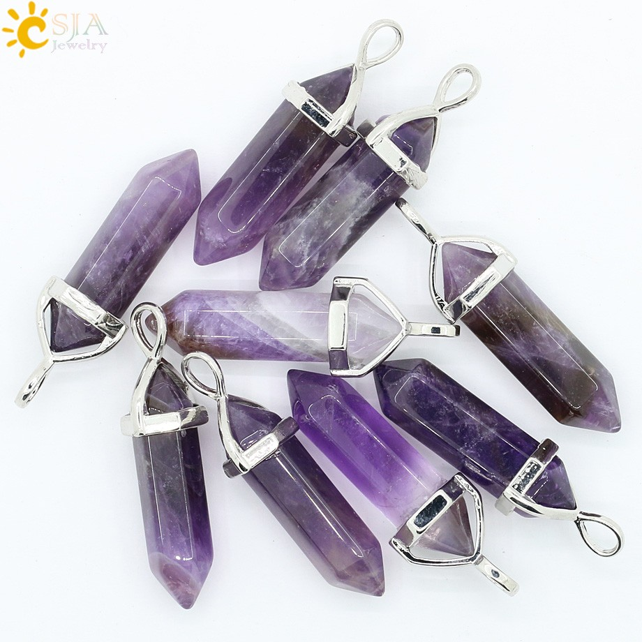 amethyst stone Bullet Shape Quartz Crystal Necklaces for Women men onyx jewelry