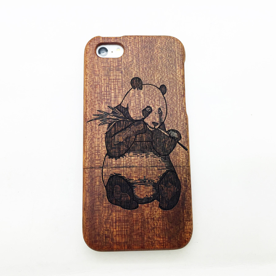 1PCS High Quality 100% Raw Wood Wooden Bamboo Carving Panda Pattern Hard Case Back Cover For iphone 5s(China (Mainland))