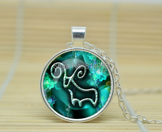 10pcs Cancer Necklace, Cancer Pendant Cancer jewelry Zodiac Sign Pendant, Constellation Jewelry glass Cabochon Necklace A2479(China (Mainland))