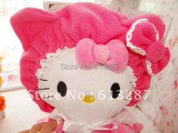 Superfine Fabric Hello Kitty Dry Hair Hat Cap Hair Drying Towel Bathing Shower Cap Quick-drying Hair Retail KCS