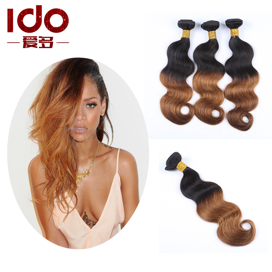 Brazilian Ombre Body Wave Honey Brown Ombre Human Hair 3 pcs Lot Two Tone Human Hair Weave 1b30 Brazilian Ombre Hair Extensions