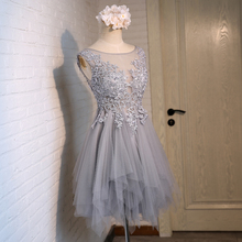 Light Gray Short Prom Dresses 2016 Latest Real Photos Illusion Sheer Neck Scoop Sleeveless Zipper Back Pleats Tulle and Applique
