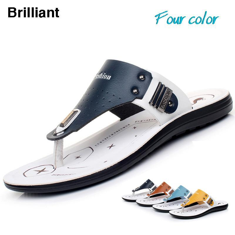 2015New Summer Men flip flops Genuine leather Slippers casual fashion beach mens sandals slip resistant comfortable shoes 65 - Brilliant Trade Co., LTD. store