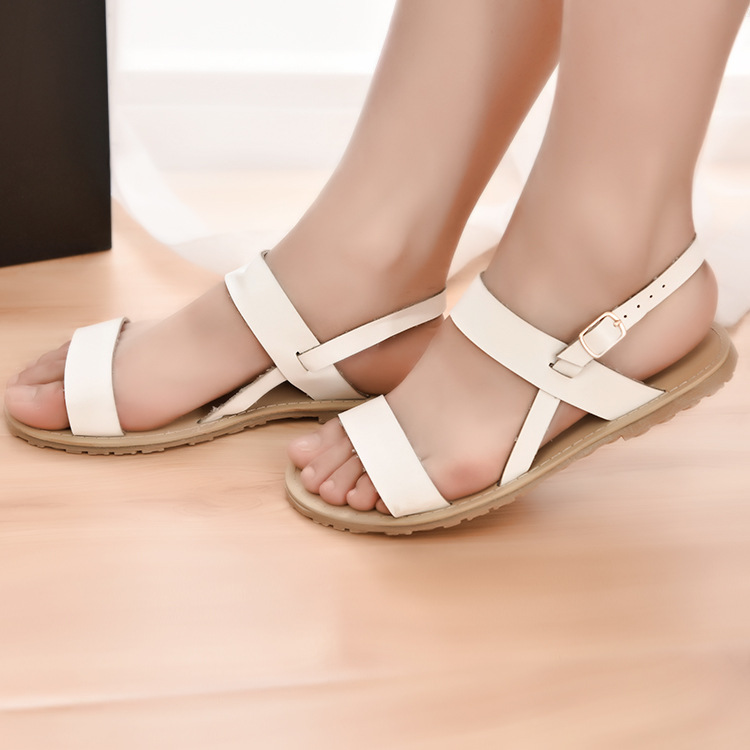 women sandals 2016 European and American fashion lady white flats size fish mouth sandals hollow microfiber leather sandals whol