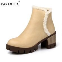Buy Woman Less Platform Ankle Boots Women Warm Fur Winter Martin Boot Ladies Round Toe Square Heel Shoes Footwear Size 34-43 for $50.66 in AliExpress store