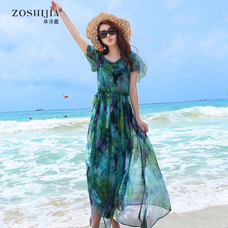 Zhuo Shi Jia 2015 new summer short sleeved silk chiffon dress dress beach high-grade temperament size