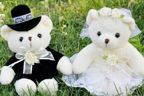 Kawaii 1Pair NEW Wedding Gift Bride & Groom Bear Bouquet DOLL TOY ; Plush Stuffed TOY Size12*6CM Soft Figure DOLL TOY(China (Mainland))