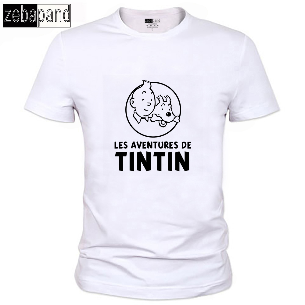 Popular Cartoon Tintin Men T Shirt Vintage Logo Printed Summer Cotton Male Tee Shirts Round Neck Vintage Optional t-shirts 125(China (Mainland))
