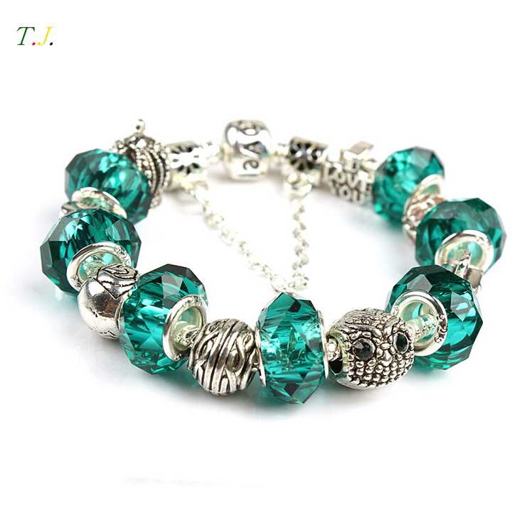 Austrian Green Crystals 925 Sterling Silver Bracelets For Women,2015 Owl Love Vintage Hand Made Bracelets Jewelry T.J. BSW009(China (Mainland))
