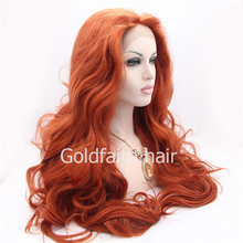 SF3 Cheap Extra Long Wine Red Synthetic Lace Front Wig Heat Resistant Wavy Burgundy Red Wig Kanekalon Natural Wig(China (Mainland))