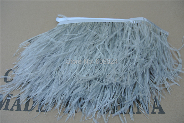 Ffree Shipping 20 yards Glass gray Ostrich Feather Trimming Fringe on Satin Header 5- 6inch(12-15cm) in width for crafts Sewing(China (Mainland))
