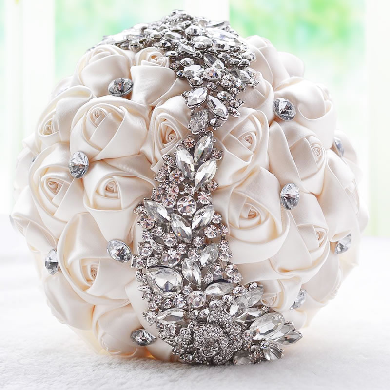 Gorgeous crystal Wedding Bouquet Red Brooch bouquet wedding accessories Bridesmaid artifical Wedding flowers Bridal Bouquets FE8(China (Mainland))