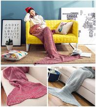 Meerjungfrau Schwanz Decke Handgemachte Gestrickte Decke Neue Mode Fischschwanz Sofa Decke TV wolle Kinder/Erwachsene, 80*190 CM Kostenloser versand(China (Mainland))