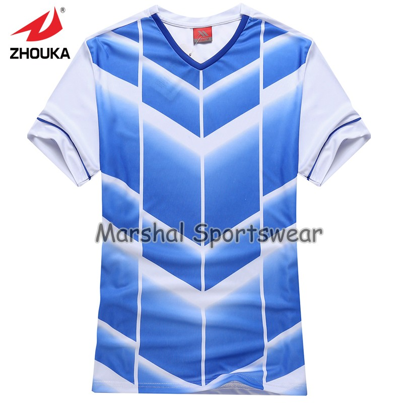 2016 Hot sale design in top quality,football jersey,kids size,in stock,light blue color(China (Mainland))