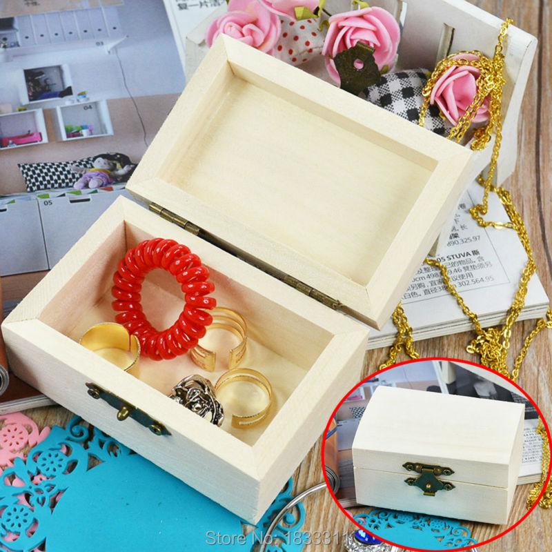 Wood Jewelry Box rectangle Shape Mud Base Art Decor Children Kid Baby DIY Wooden Crafts Toys(China (Mainland))