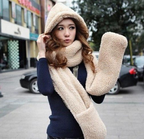 2015 Autumn and winter freeshipping sheep Wool cap with scarf gloves hat Women fashion women warm scarf set(China (Mainland))