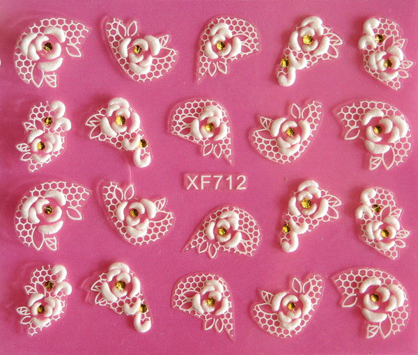 Europe beauty white flower rose lace carved 3D nail art stickers 3D nail stickers tools XF712(China (Mainland))