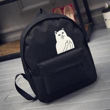 2016 New Japanese Cat School Canvas Backpack For Women Teenage Girl Couple Cartoon College Wind Mochila Escolar Women Backpack(China (Mainland))