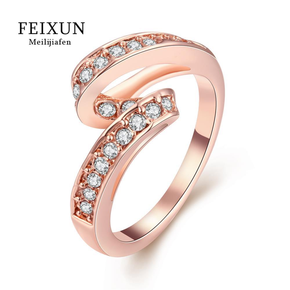 Bague Femme Ringen Voor Vrouwen Rose Stainless Steel Rings For Women High Quality New Fashion Jewelry Gold Plated Ring R034-A-8(China (Mainland))