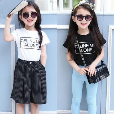white&amp;black kids outfit 2015 fashion baby girls clothing lettter pattern girls tops suit 2-7 cheap vestido retail&amp;wholesale tee<br><br>Aliexpress
