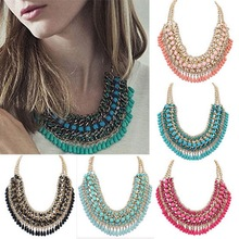 Mode bohème collier pour les femmes 2015 chute de gland millésime multicouche collier collier ras du cou déclaration de la chaîne collier pendentifs(China (Mainland))