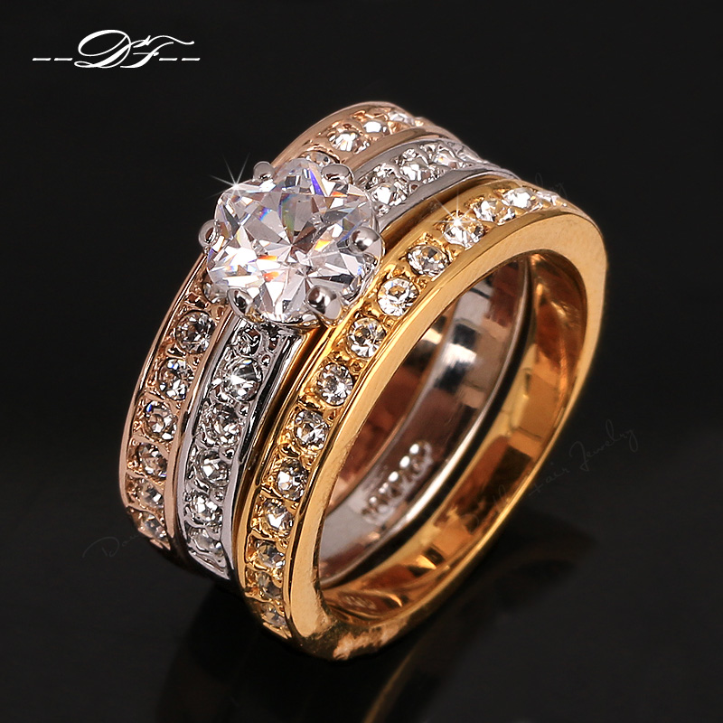 Anti allergy 3 rounds cz diamond paved engagement rings for Anti wedding ring