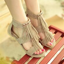 2016Big size 34-43 Roman t strapts Tassels Rivets Summer Shoes Cutouts Flats Heels Open Toe Platform Gladiator Sandals for Women