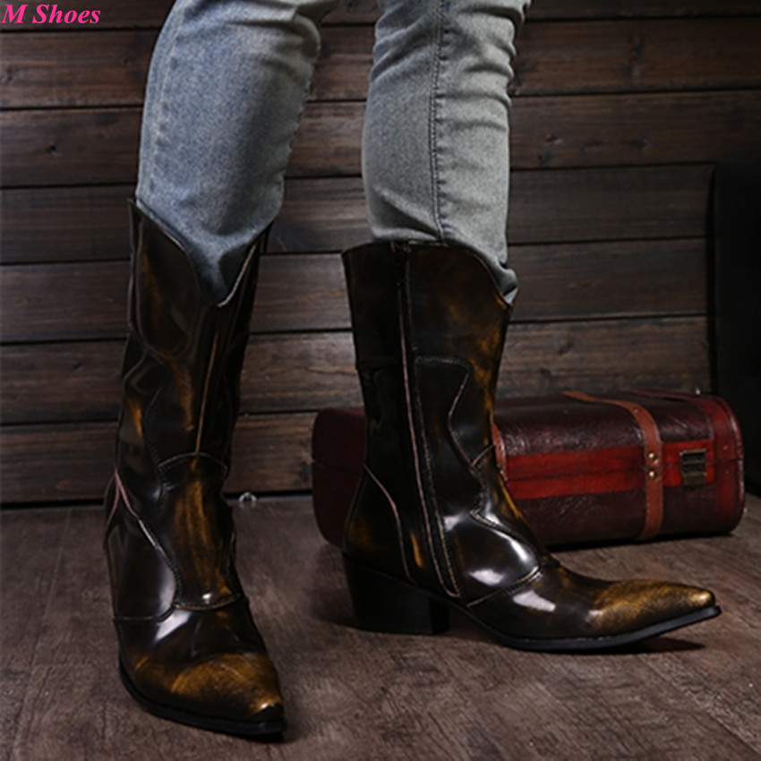 Men Fashion Winter Boots Male Brown Genuine Leather Mid-Calf Botas Masculinas Western Cowboy Boots High Heel Motorcycle Boots(China (Mainland))