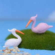Mini World Landscaping Accessories Home Garden Decoration Artificial Flamingo Fairy Garden Gnome Bird Ocean Sea Egret(China (Mainland))