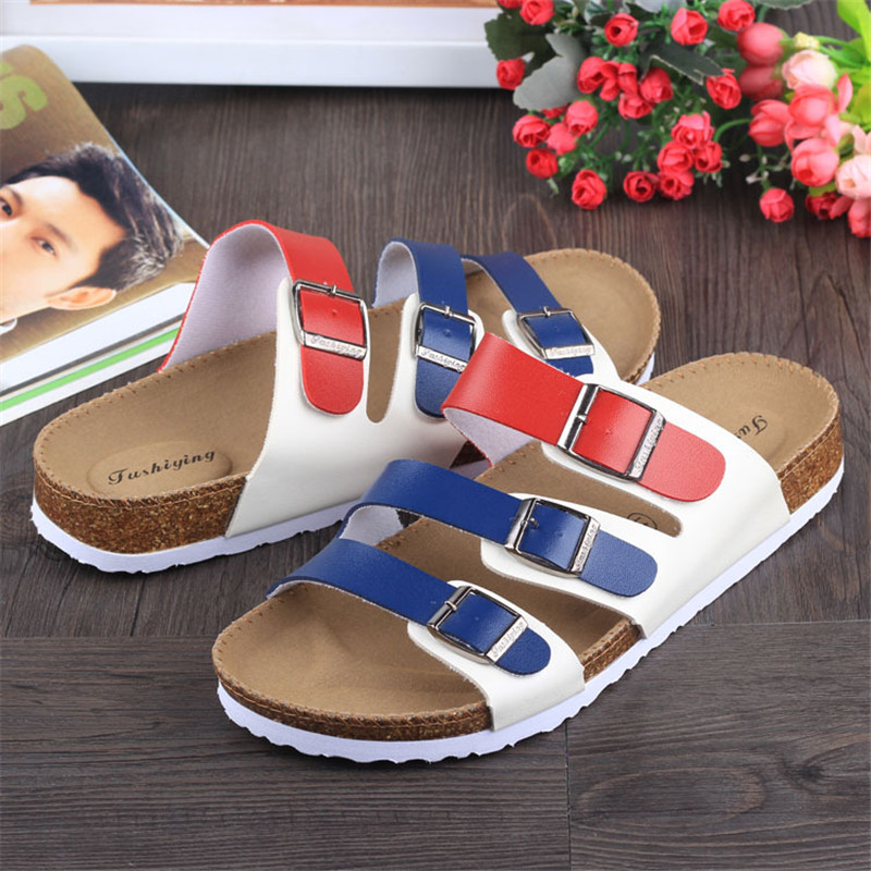 new-unisex-summer-buckle-cork-slipper-sandals-flats-shoes-2016-casual-women-mixed-color-beach-slippers