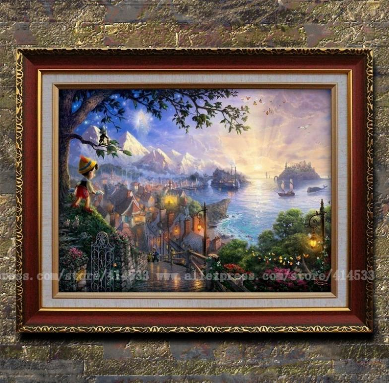 Thomas kinkade prints of oil painting pinocchio wishes - Home interiors thomas kinkade prints ...