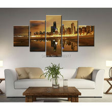 5PCS Seaside City Night Oil Painting Oil Painting On Canvas Home Decorative Wall Art For Living Room No Frame