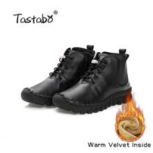 Tastabo Handmade Stiefeletten Mit Fell Retro Stiefel Schuhe Frauen Mode Handgemachte Slip-on Weiche Leder Winter Warme Stiefel damen(China)