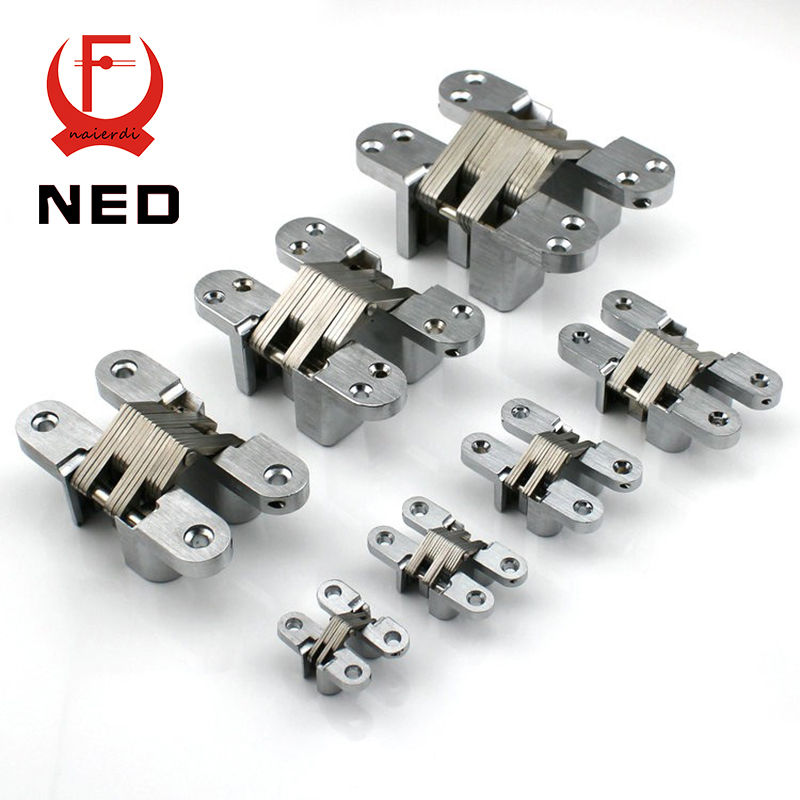 NED-4010 Invisible Concealed Cross Door Hinge 304 Stainless Steel 25x117mm Hidden Hinges Bearing 100KG With Screw For Hotel Home(China (Mainland))