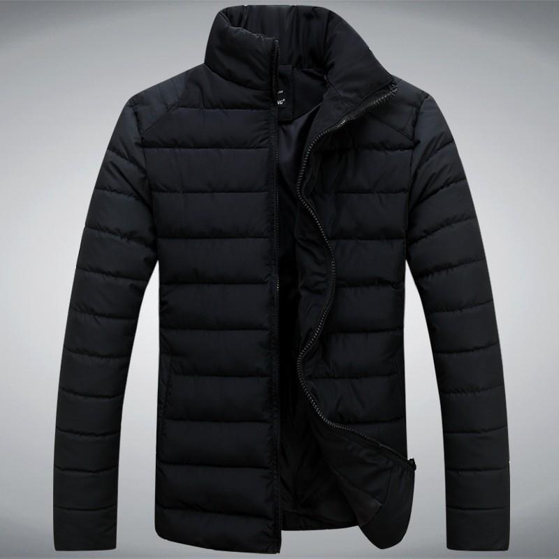 Новая зимняя мужская повседневная пальто slim fit стоять воротник однотонный хлопок голубой пуховик плюс размер 3xl бренда дизайнер xw87