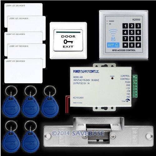 HOMSECUR Rfid Access Control System Kit Set +Strike Door Lock +Rfid +Power +Exit Button(China (Mainland))