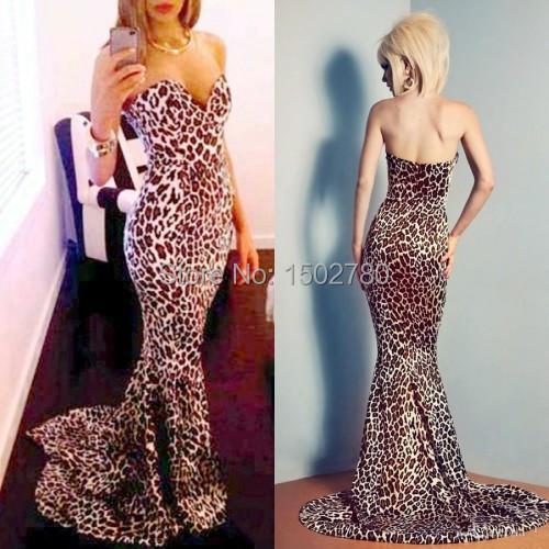 Leopard print wedding dress strapless sweetheart floor for Zebra print wedding dress