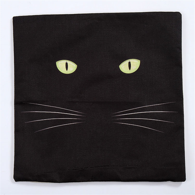 Animals design black cat decorative throw pillowcase cushion cover without inner sofa home decor printed linen