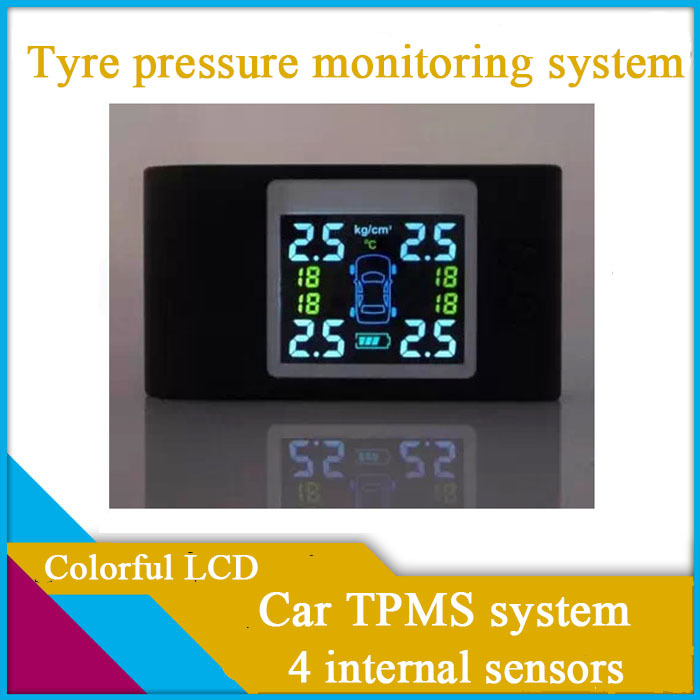 freeshipping car TPMS with 4 internal sensors,colorful LCD,replaceable battery for sensor,Diagnostic Tools,tyre pressure(China (Mainland))