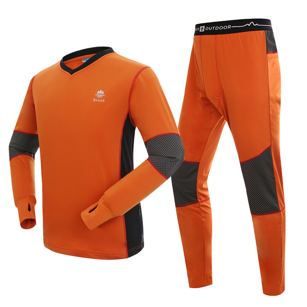 Authentic outdoor sports quick-drying underwear sets men's thermal drying antistatic riding orange 2XL - HK RealPower Industry Limited store