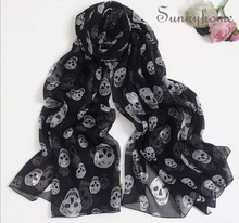 Black printed Skull 100% Silk pashmina hijab fall fashion brand scarves for women shimmer scarf burb shawl winter Wraps(China (Mainland))
