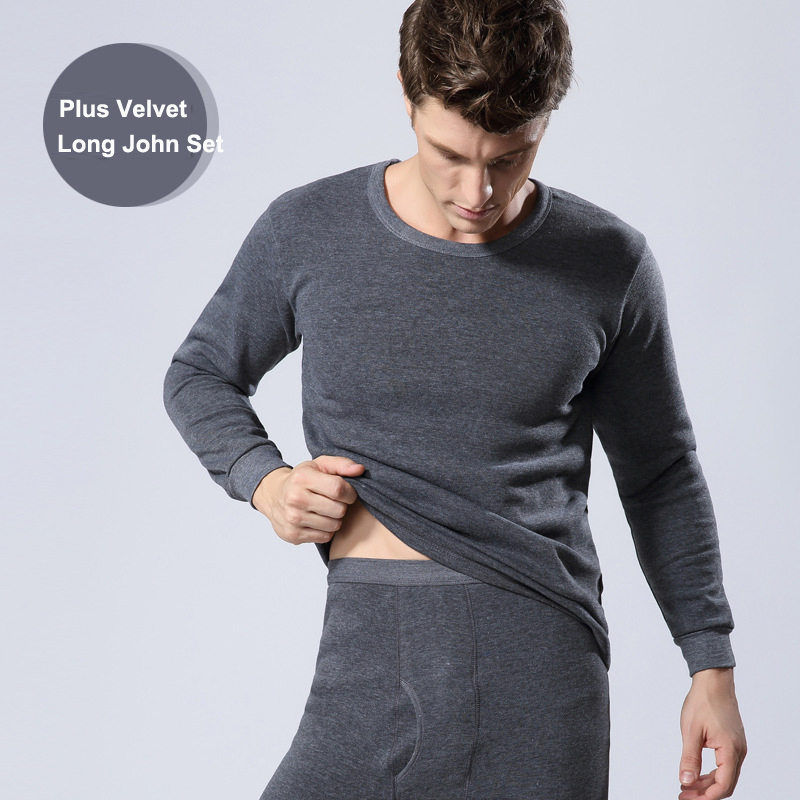 Winter Men Long Johns Thicken Mens Thermal Underwear Sets Plus Velvet Warm Long John O-Neck Thermal Undershirts Trousers(China (Mainland))