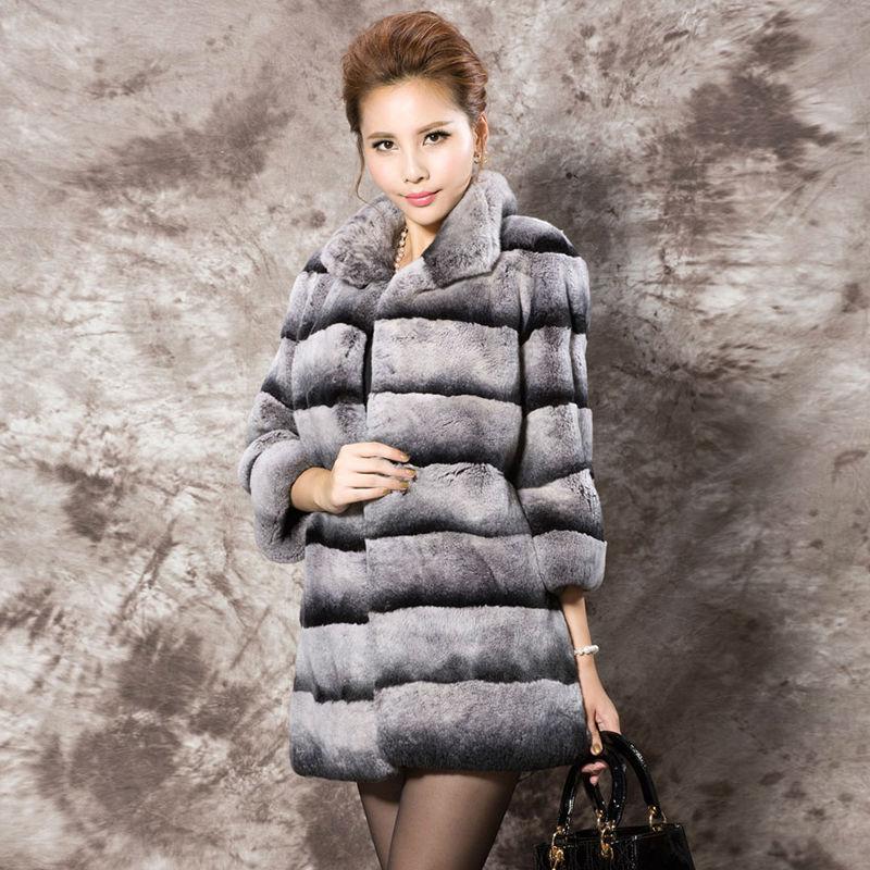 2016 New Womens Turn-down Collar Overcoats Real Rex Rabbit Fur Coats Winter Long Parka Three-quarter Sleeve LX00802Одежда и ак�е��уары<br><br><br>Aliexpress