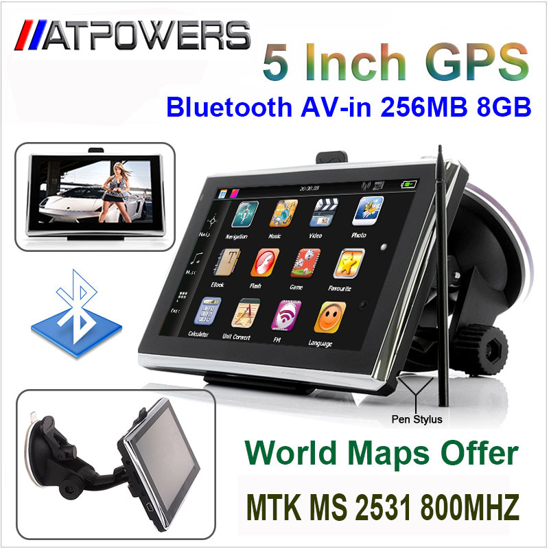 Best Quality 5 inch wince6.0 GPS Navigation 256MB 8G. MTK 800MHZ with bluetooth AV-in FMT Russia Europe USA Australia world maps(China (Mainland))