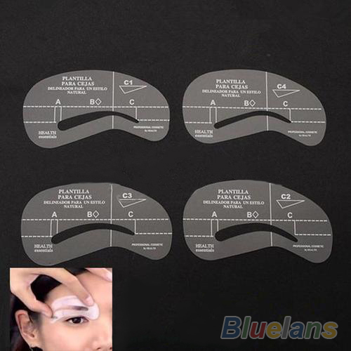 4pcs/set Styles Grooming Stencil Kit Make Up MakeUp Shaping DIY Beauty Eyebrow Template Stencils Tools Accessories 00H7(China (Mainland))