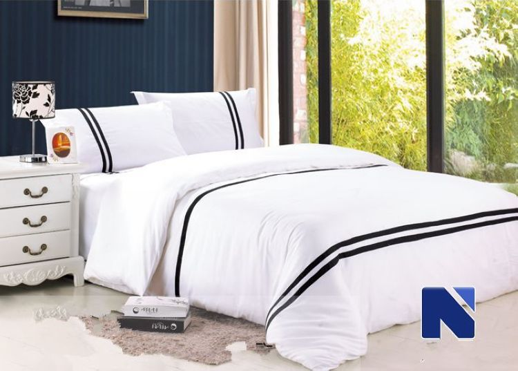 Modern five star hotel bedding set king size 4pc stripes duvet cover cotton bedclothes bed set(China (Mainland))