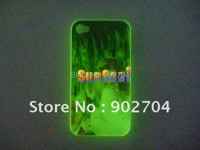 Customer Design Color Print Glow in the Dark luminous Hard back mobile/cell phone case for iphone 4 4S