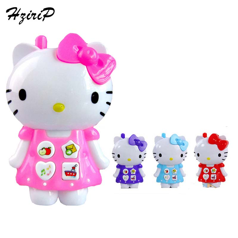 New Creative Cartoon Hello Kitty Music Light Phone Baby Toys Mobile Phone Educational Toy Simulation Phone Model Kids Gift(China (Mainland))
